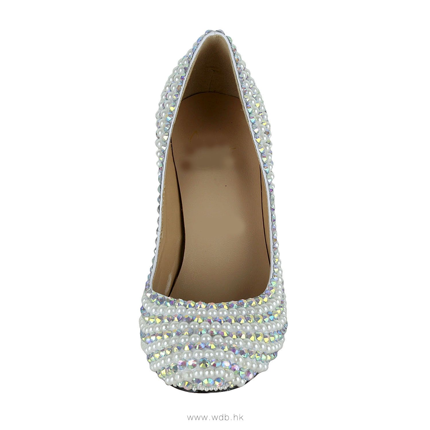 3 inch White Beading Leather shoes $66