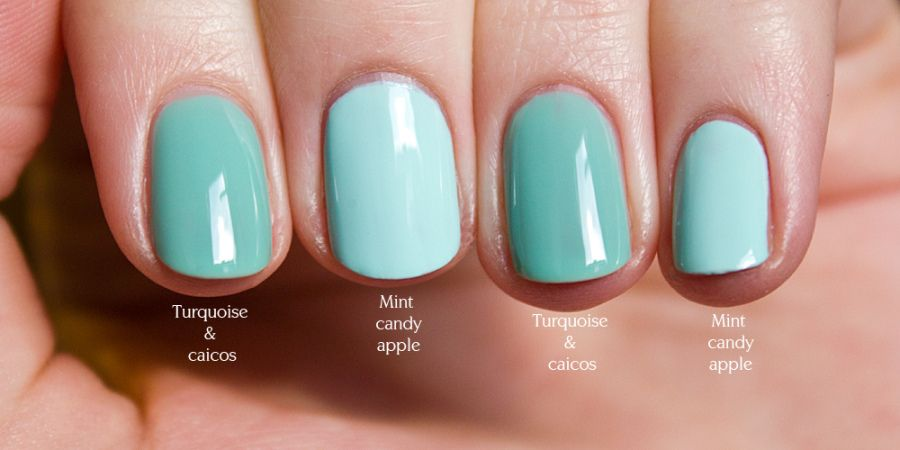 Essie Turquoise & Caicos Vs. Mint Candy Apple. | Nails | Pinterest