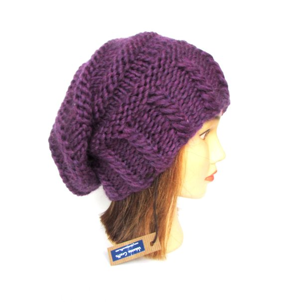 14a5a37e8d0 Slouchy beanie hat dark purple slouch hats beanies plum accessory for women  chunky knit hat irish ha