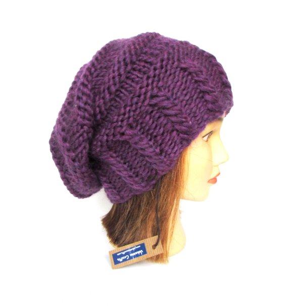14a5a37e8d0 Slouchy beanie hat dark purple slouch hats beanies plum accessory for women  chunky knit hat irish ha