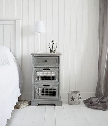 British Colonial Furniture Grey Bedside Table With Drawers Bedroom Furniture In Shabby Chic