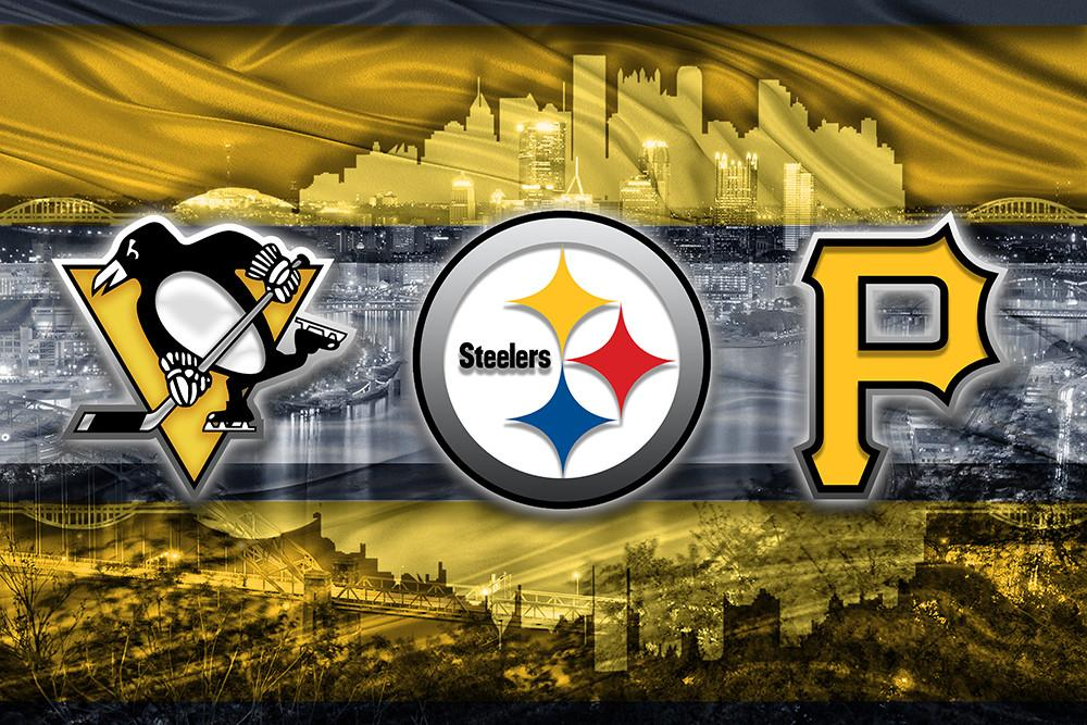 Pittsburgh Sports Teams In Front of Skyline Poster