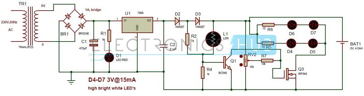 Automatic LED Emergency Light Circuit Diagram using LDR | Emergency ...