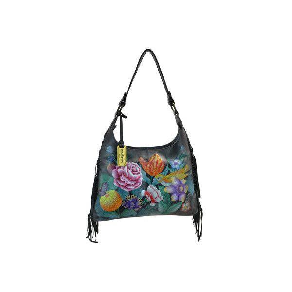 202e456b2070 ... Womens Anuschka Hand Painted Leather Fringe Shoulder Hobo Bag -.