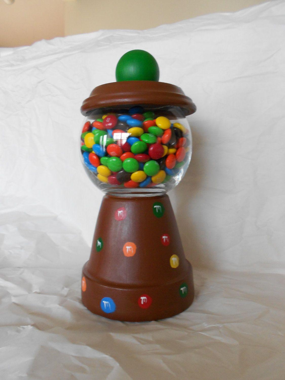 M M Clay Pot Candy Dish Etsy Clay Pot Crafts Terra Cotta Pot Crafts Clay Pots