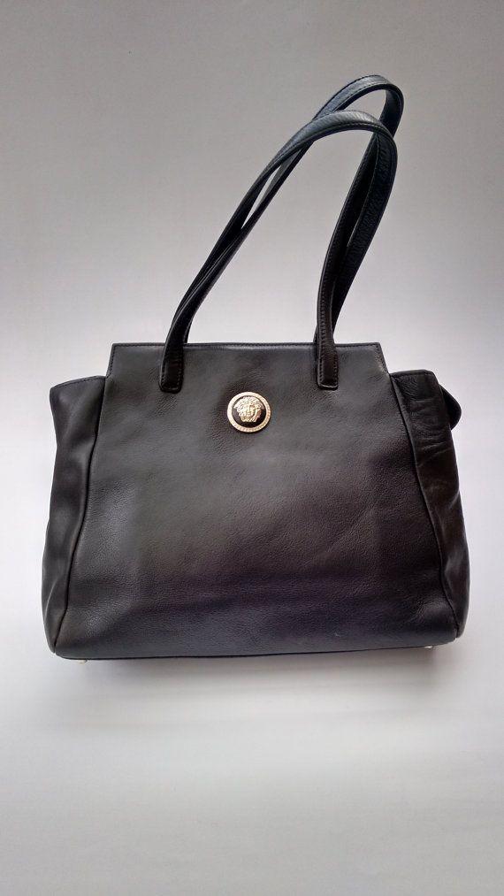 VERSACE Gianni Versace Vintage Black leather Shoulder Bag. Italian ... 00dcb6de0ac96