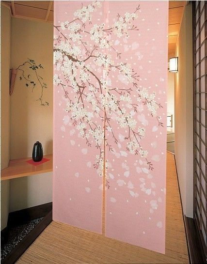 Cute Pink Japanese Noren Doorway Curtain Romantic Blossom Oriental Cherry Sakura Doorway Curtain Pink Shower Curtains Modern Shower Curtains