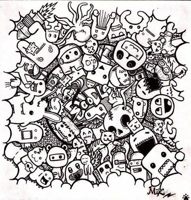 Monster Doodles Colouring Pages With Images Doodle Drawings
