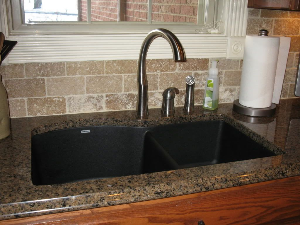 Tropic brown granite with black silgranit sink kitchen for Best kitchen sinks and faucets