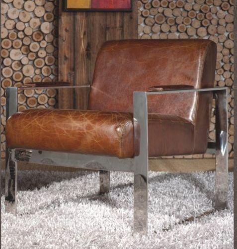 Vintage Echtleder Sessel Edelstahl Ledersessel Design Lounge