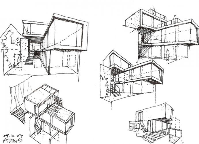 Pinned Onto Architectural Sketches Board In Category