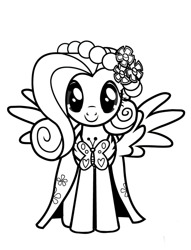Fluttershy Coloring Pages Cartoon