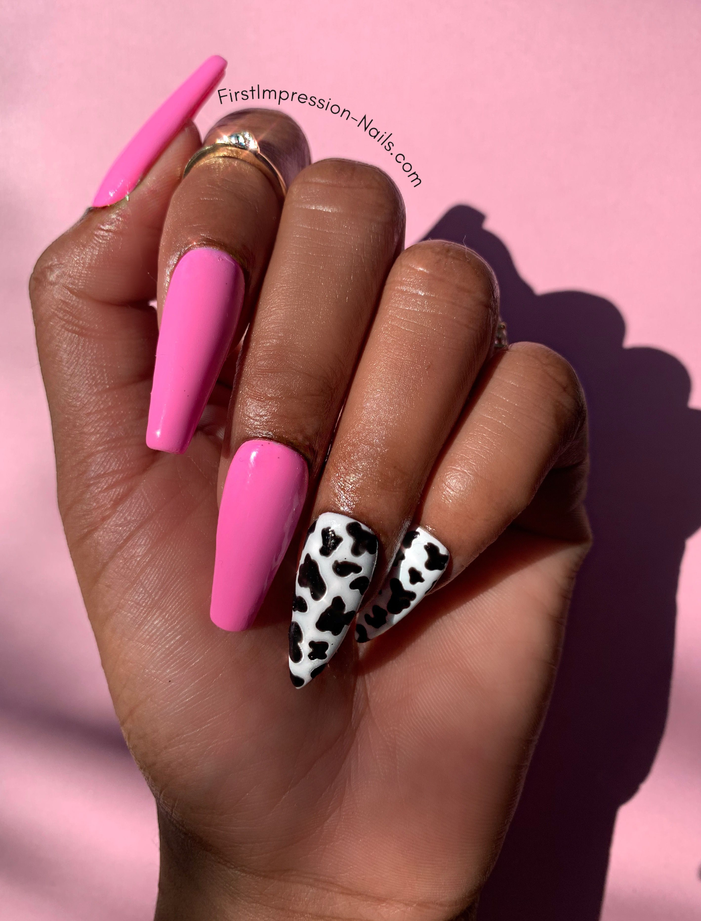 Cow Girls Have More Fun Set In 2020 Anime Nails Cow Nails Pink Acrylic Nails