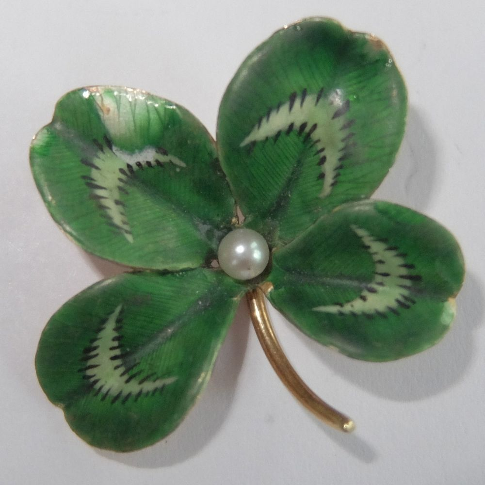 Antique Edwardian Krementz 14k Gold Enamel Pearl Four Leaf Clover Brooch