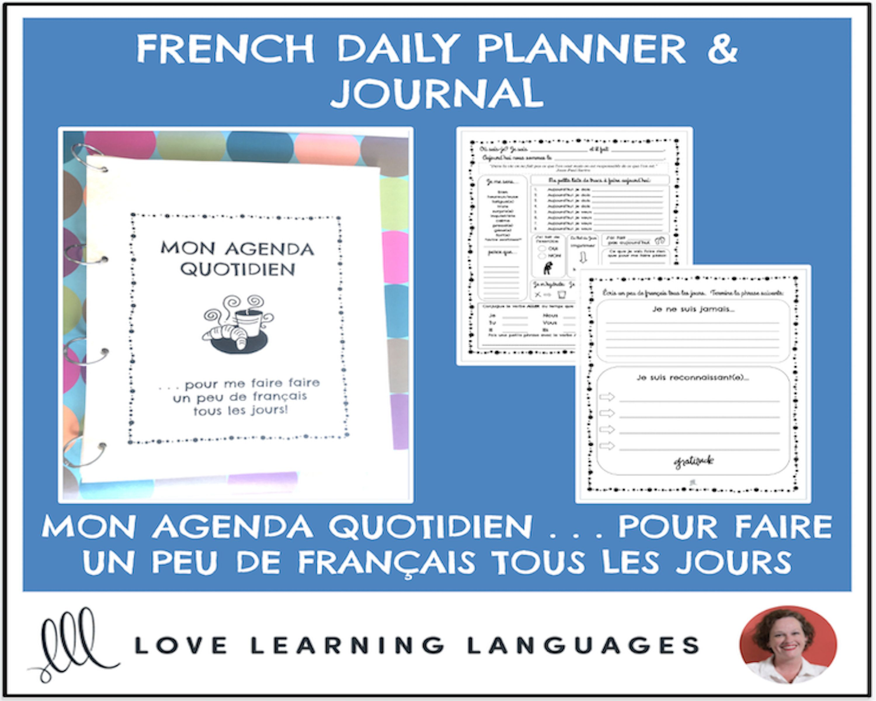 French Language Planner And Workbook 200 Page Pdf Learn And Etsy Workbook Daily Planner French Language