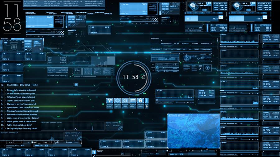 J.A.R.V.I.S. Rainmeter Desktop by akatsukiblast