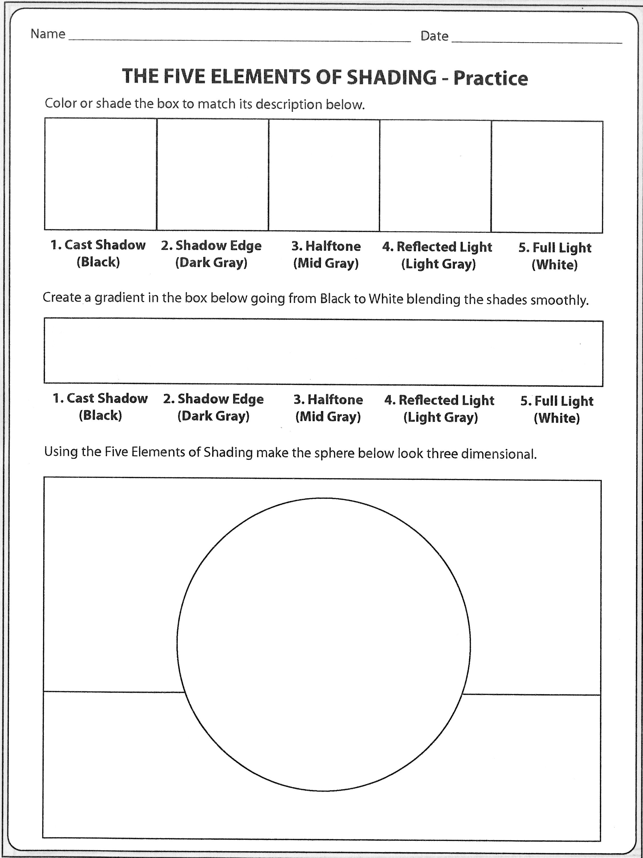 Value Scale Gradient And Shaded Form All In One Worksheet