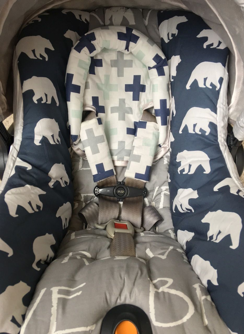 Custom Replacement Car Seat Cover for Chicco Keyfit or Chicco Keyfit 30 - Bears and Crosses & Bears and Crosses Custom Replacement Car Seat Cover for Chicco ...