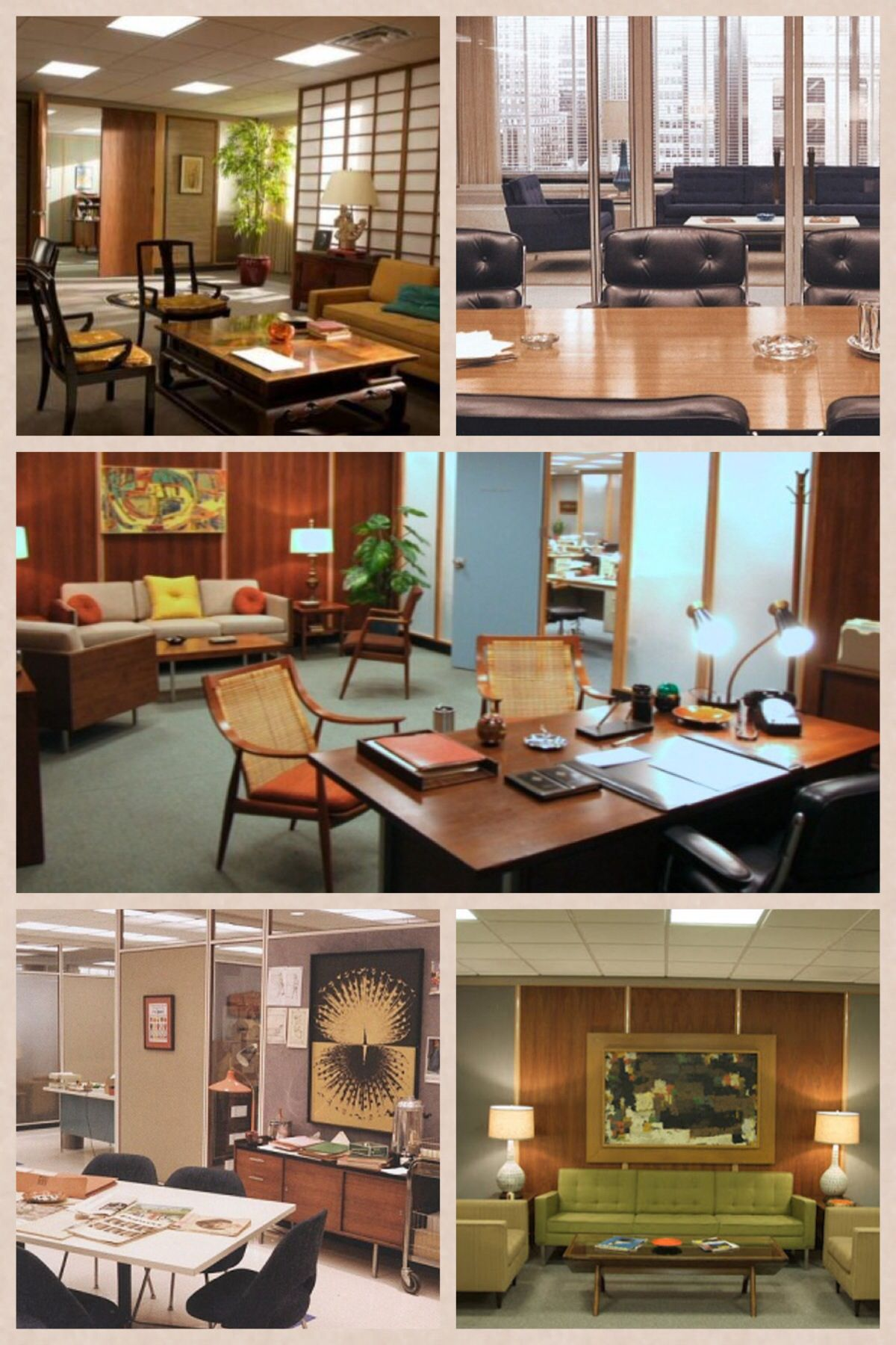 My Fave Shots Of The Mad Men Offices With Images Mid Century Modern Office Mad Men Furniture Mad Men Interior Design