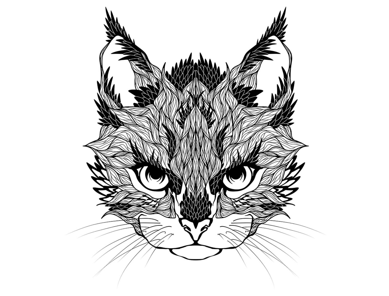 Hard cat coloring pages Animal coloring page Animal