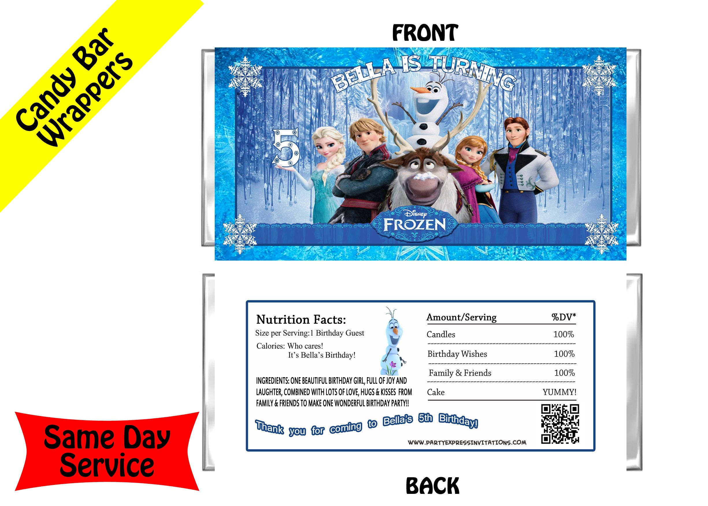 Frozen Movie Personalize Candy Bar Wrappers | Disney Frozen Movie ...