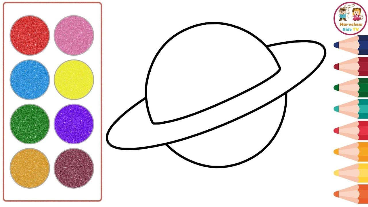 Glitter Planet Drawing Coloring For Kids And Toddlers How To Draw Coloring For Kids Planet For Kids Coloring Books