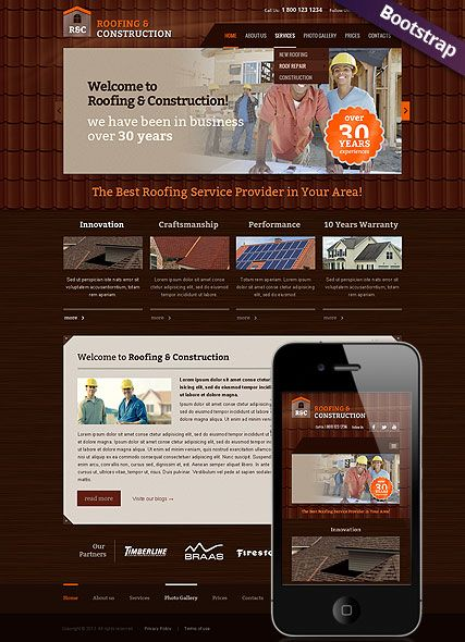 roofing and construction website template bootstrap website design responsive web design professional website templates
