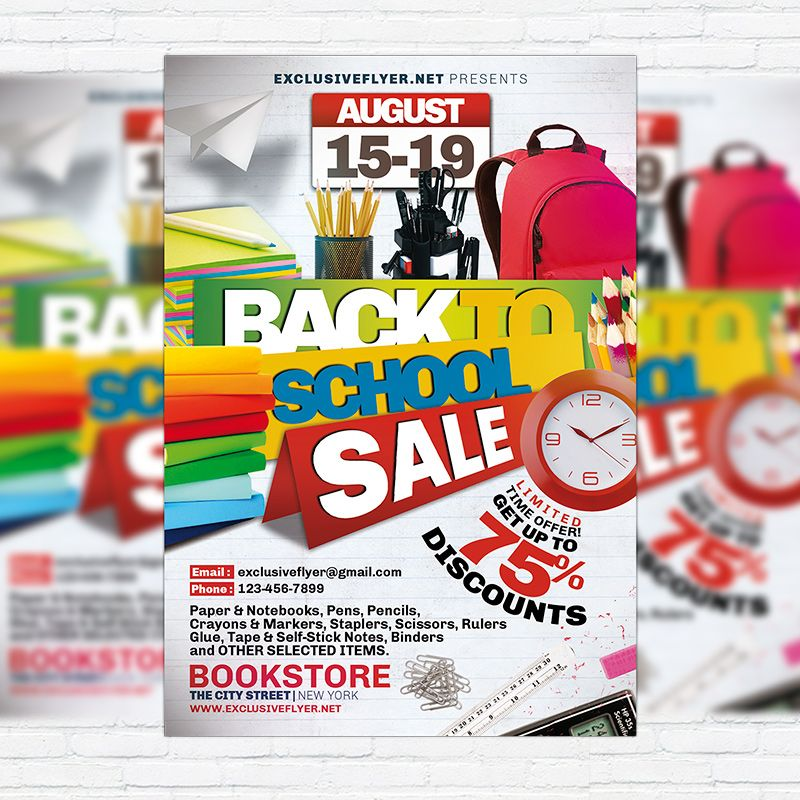 Back To School Sale  Premium Flyer Template HttpExclusiveflyer