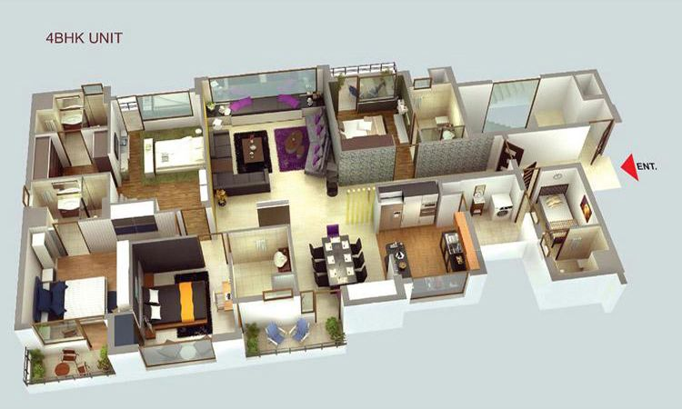 Image result for 3d floor plan apartment | Small house plans ...