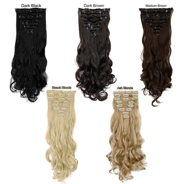 24inch 170g Long Curly 18 Clips In Synthetic Hair Extensions 8pcs
