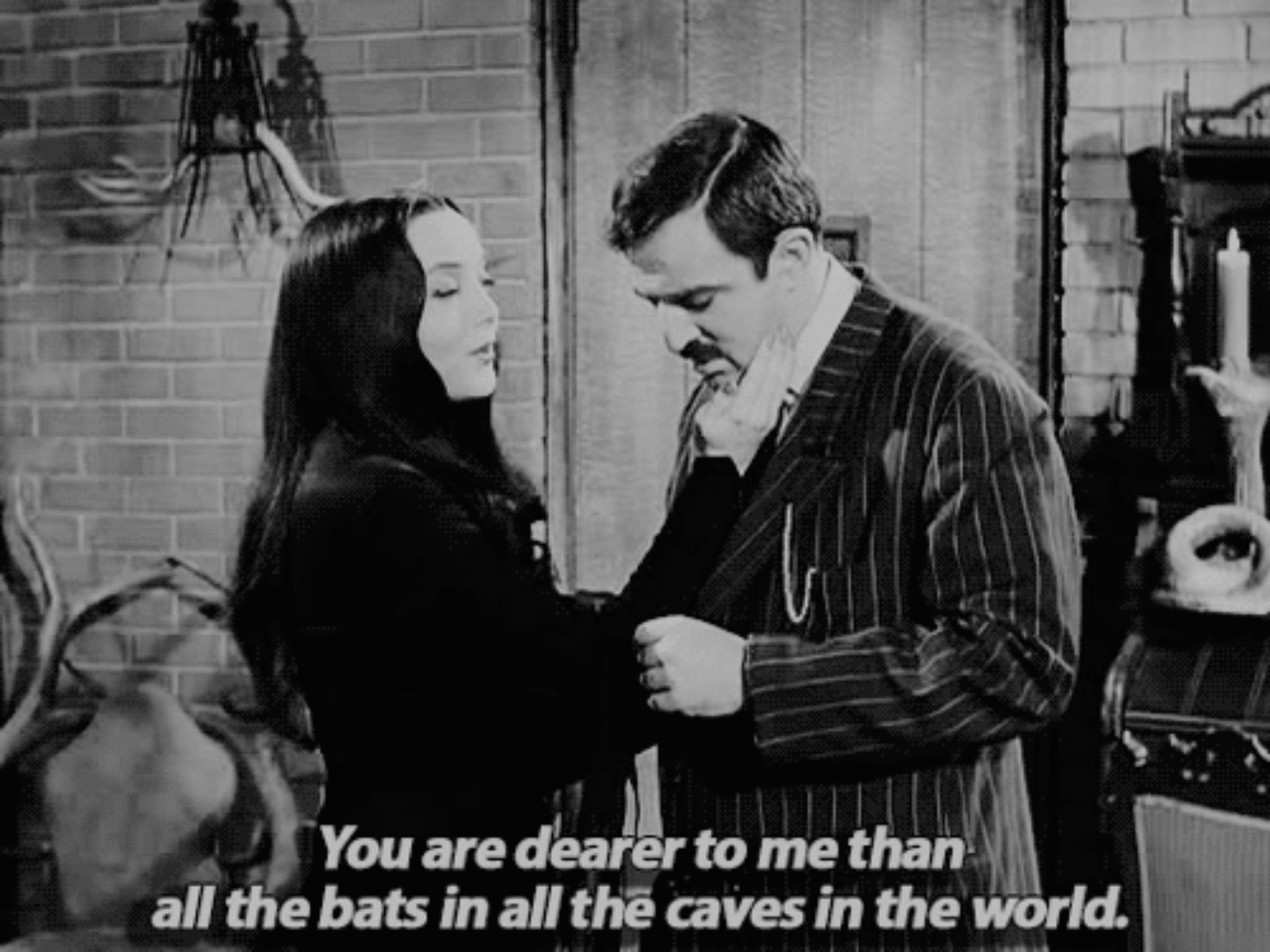 love cute couple cute Bat quote Black and White movie old lovely true love the addams family oldschool black white Gomez Addams Morticia Addams movie quotes