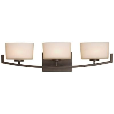 Hampton Bay Burye 3 Light Oil Rubbed Bronze Vanity Light With Etched White Glass Shades 15323 The Home Depot Vanity Lighting White Glass Glass Shades
