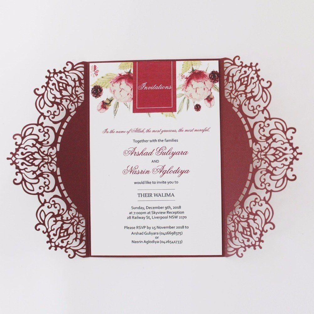 Wedding Invitations Burgundy Laser Cut Wedding Invitation