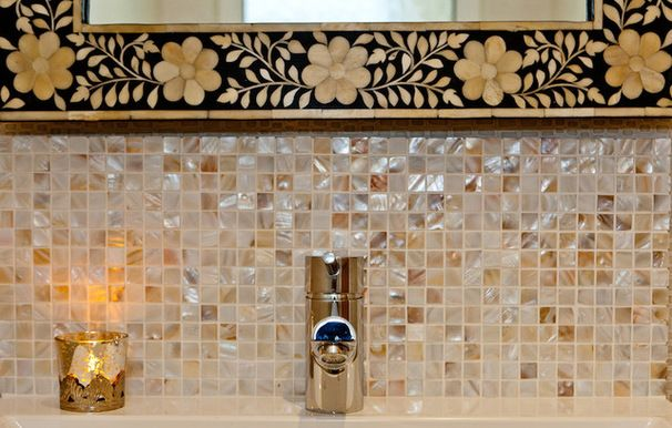 Traditional Bathroom Using Fab Cream Mother Of Pearl Backsplash Tile.  Https://www