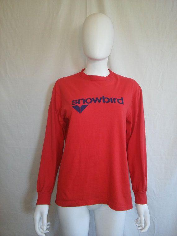 153f32c2164 SNOWBIRD Long Sleeve t shirt Vintage 80 s by ATELIERVINTAGESHOP
