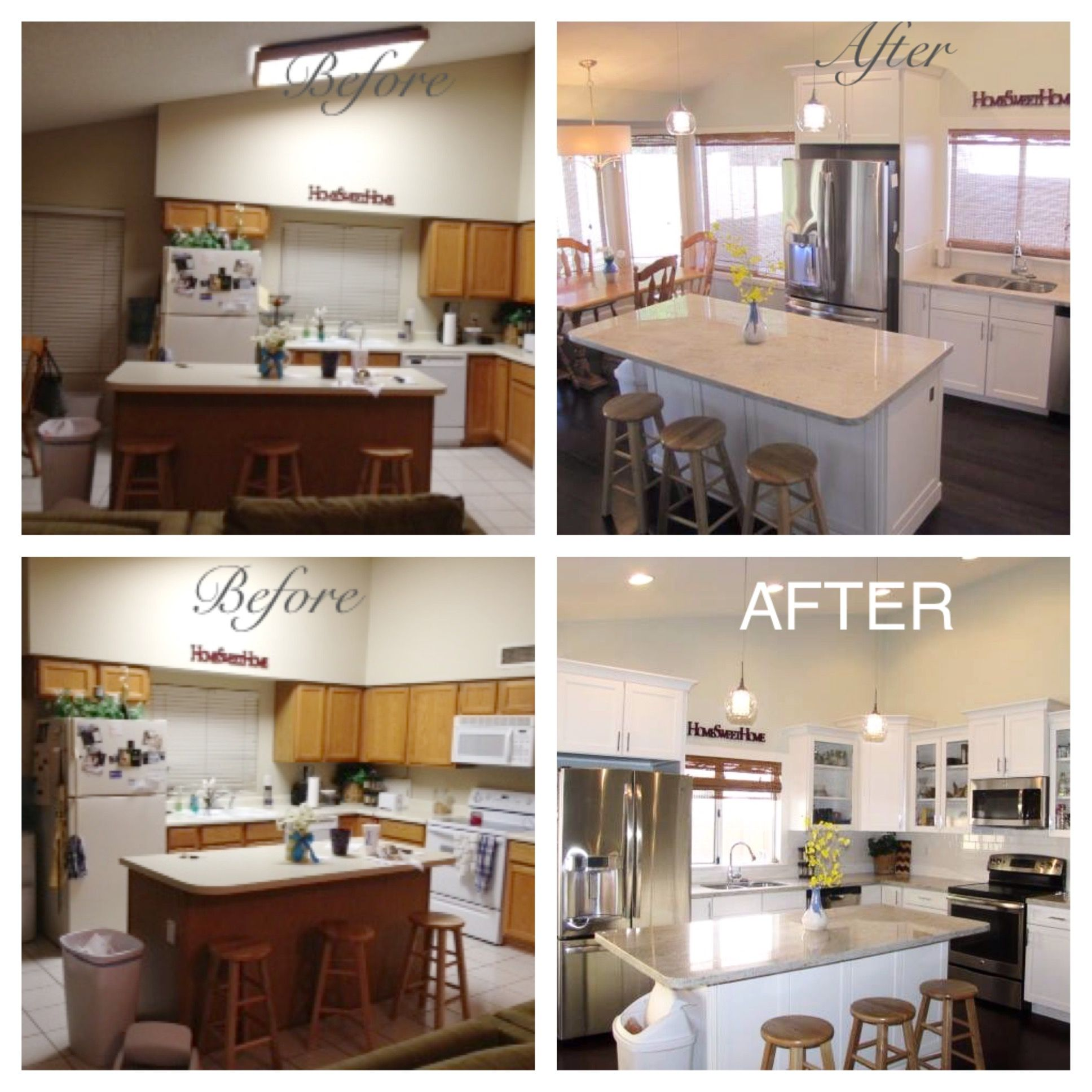 remodeled kitchen before and after tear out soffits walls