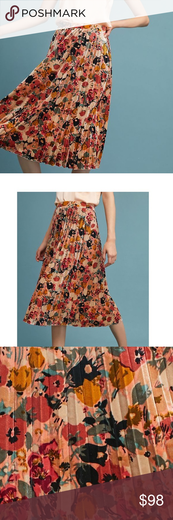 6e1ba6e474 TOP RATED Anthropologie Floral Velvet Skirt new Brand name: MAEVE  Polyester, spandex · Pleated detail · Pull-on styling · Hand wash ·  Imported Dimensions ...