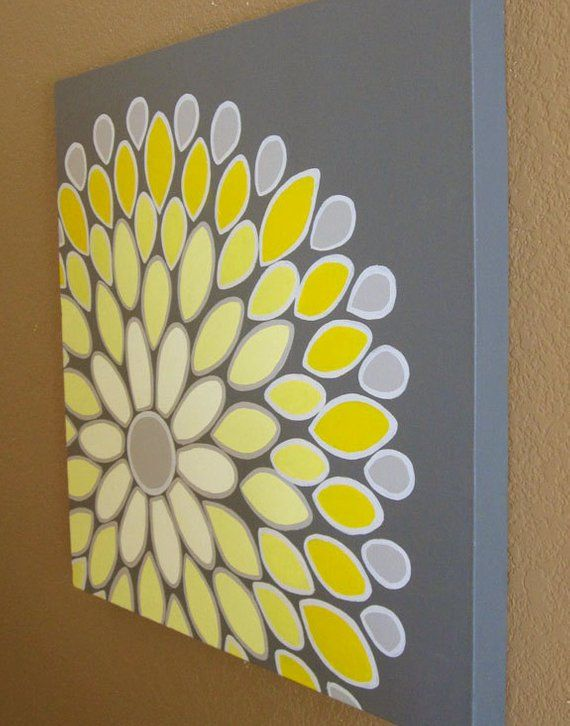 Wall Art Yellow And Grey Abstract Flower 20x20 Acrylic Painting On Canvas Made To Order Diy Painting Diy Canvas Diy Wall Art