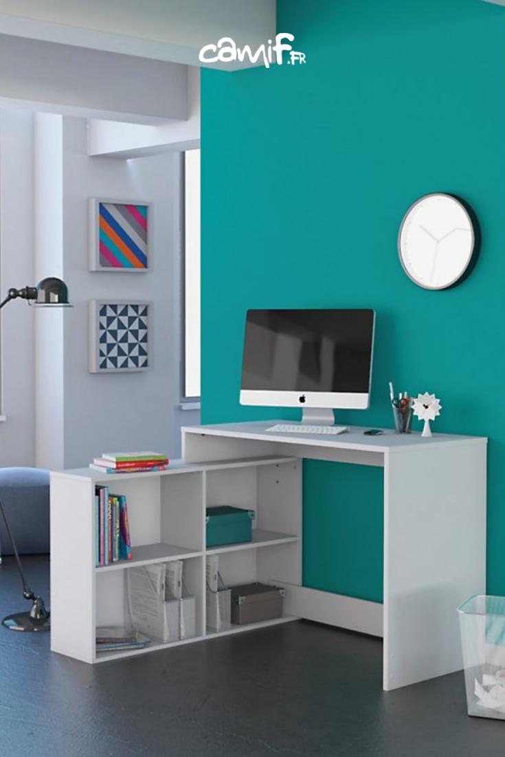 Bureau D Angle Dilan Blanc Mat Avec Rangements Bureau Angle Bureau Chambre Mobilier De Salon