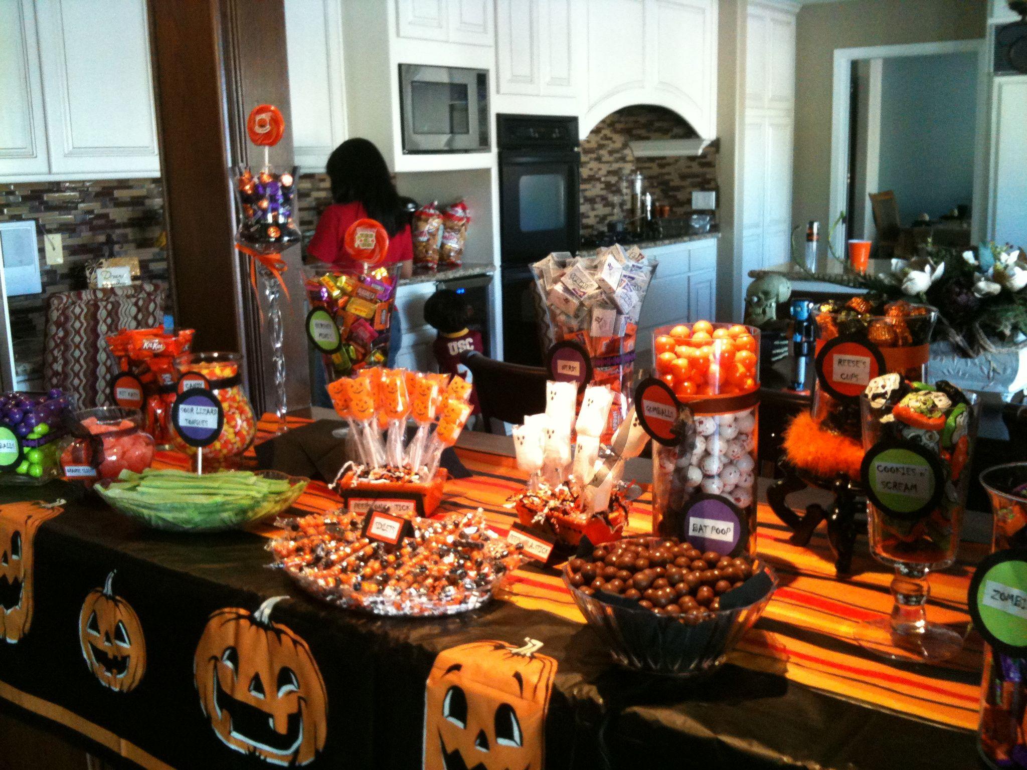 Halloween buffet table - Halloween Candy Buffet Display More