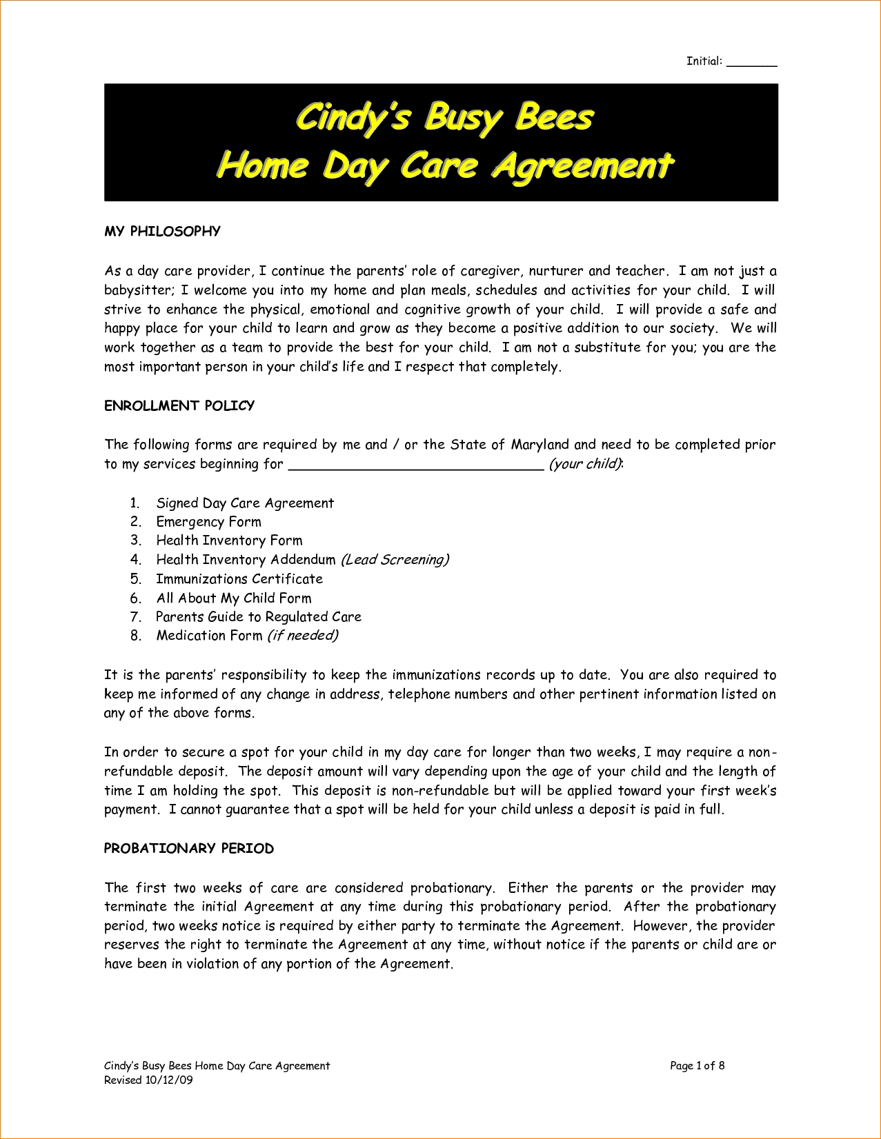 Daycare contract sample 2 by nrk14057 childcare ideas pinterest daycare contract sample 2 by nrk14057 altavistaventures Image collections