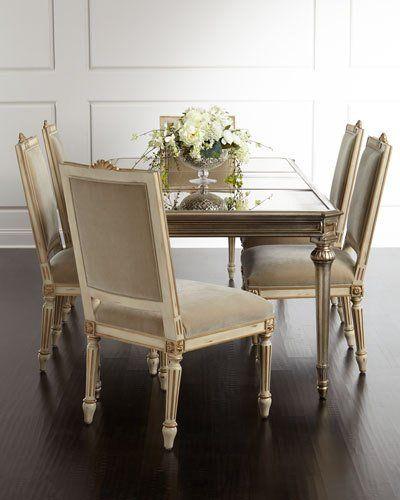 -6XRC   Roberta Antiqued-Mirrored Dining Table Valerie Velvet Dining Chair, Set of 2