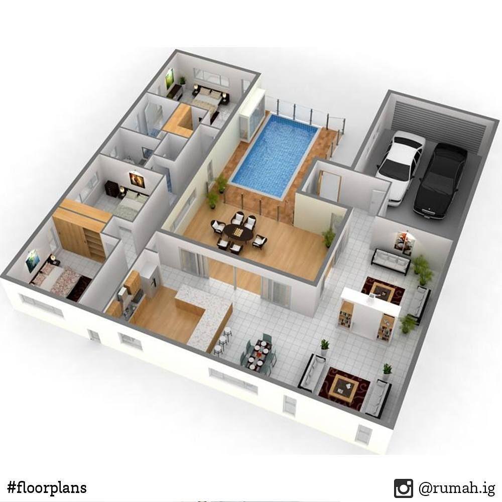model rumah dengan 3 kamar tidur