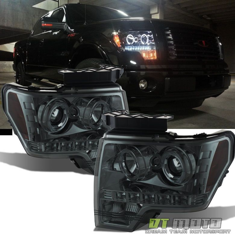 Details About 2009 14 Ford F 150 F150 Dual Led Halo Smoked Projector Headlights Headlamps Pair Truck Accessories Ford 2014 Ford F150 Ford F150 Accessories
