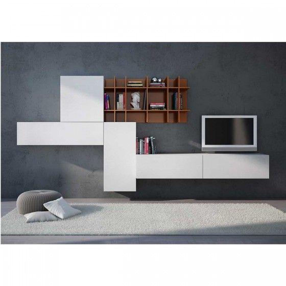 Meuble TV Design blanc mural Willem | meuble tv | Pinterest | TVs ...