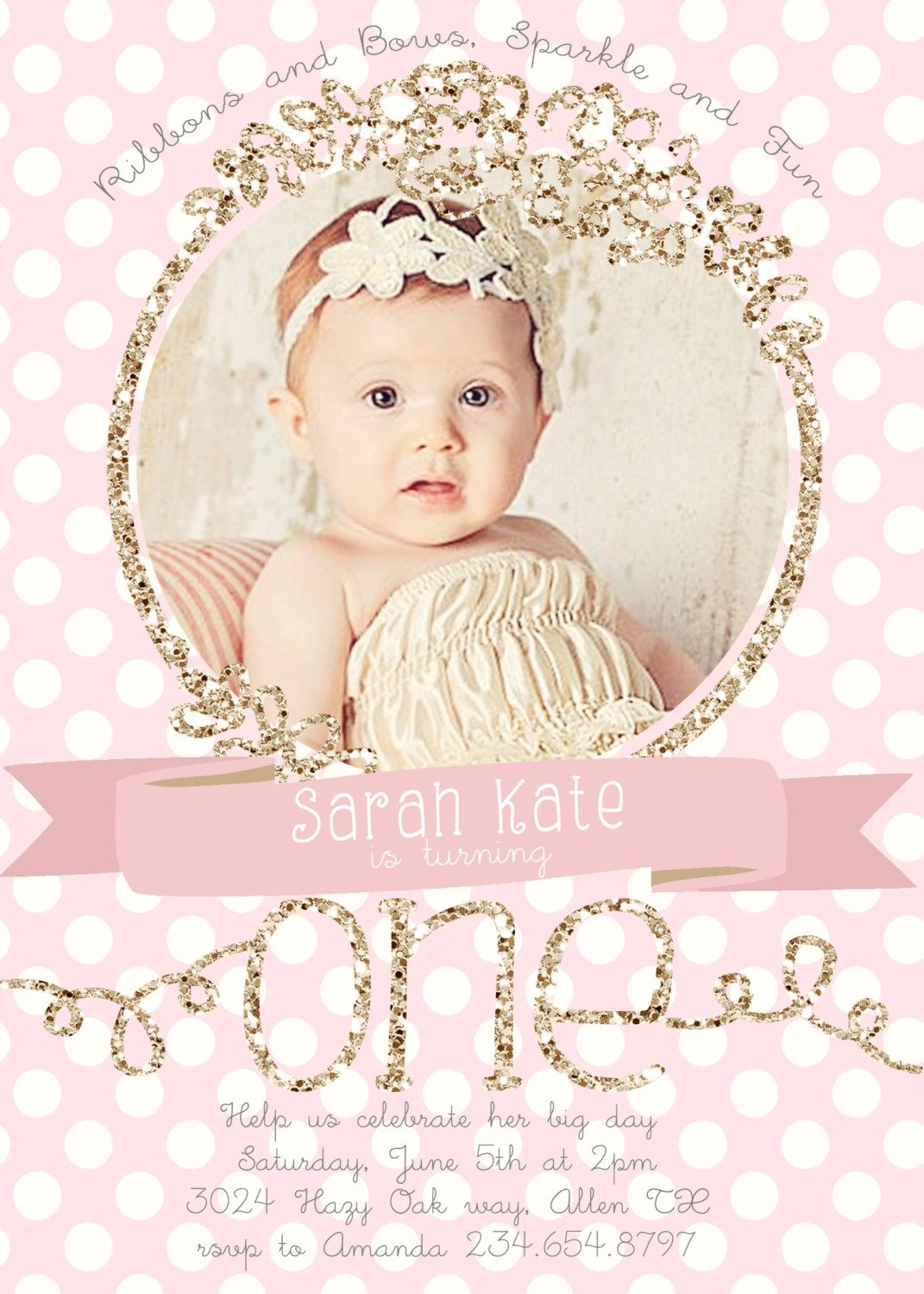 Baby Girl First (1st) Birthday Photo Invitation - Flowers and ...