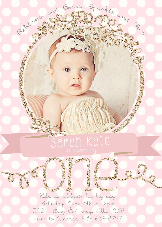 Princess Birthday Invitation Pink Gold Chevron Pattern Gold – My First Birthday Invitation