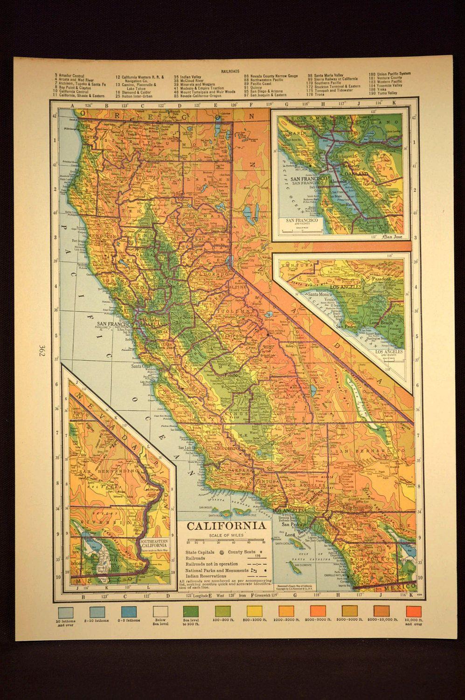 California Map California Topographic Map Colorful Colored | Map ...