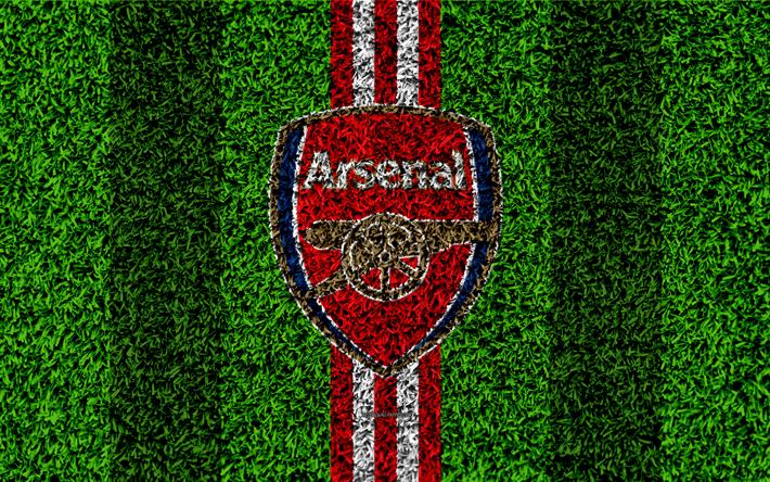 Download Wallpapers Arsenal FC, 4k, Football Lawn, Emblem
