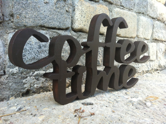Coffee Sign Home Decor COFFEE TIME Wood Script Wood Sign Wooden Letter Kitchen  Sign Shabby Chic Wall Decor Art Letters Cottage Style Gift